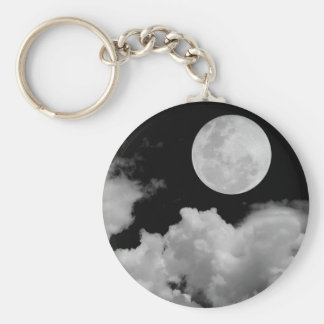 FULL MOON CLOUDS BLACK AND WHITE KEYCHAIN