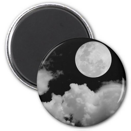 FULL MOON CLOUDS BLACK AND WHITE MAGNETS
