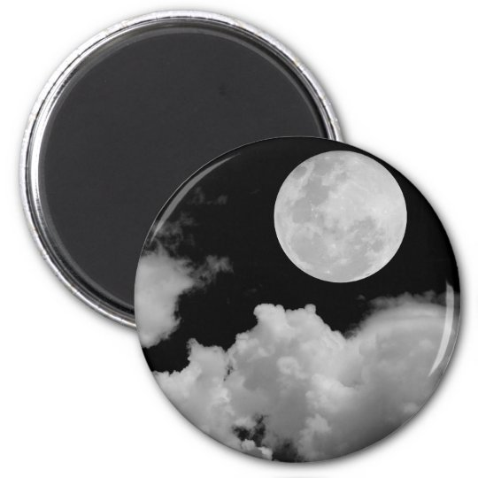 FULL MOON CLOUDS BLACK AND WHITE MAGNET