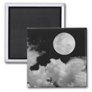 FULL MOON CLOUDS BLACK AND WHITE FRIDGE MAGNET
