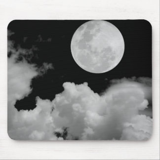 FULL MOON CLOUDS BLACK AND WHITE MOUSE PAD
