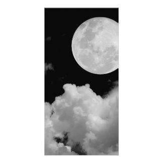 FULL MOON CLOUDS BLACK AND WHITE PHOTO CARDS