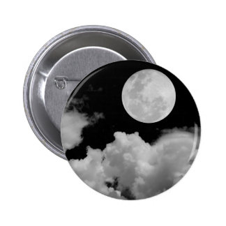 FULL MOON CLOUDS BLACK AND WHITE PINBACK BUTTON