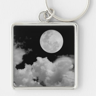 FULL MOON CLOUDS BLACK AND WHITE Silver-Colored SQUARE KEYCHAIN
