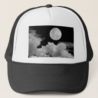FULL MOON CLOUDS BLACK AND WHITE TRUCKER HAT