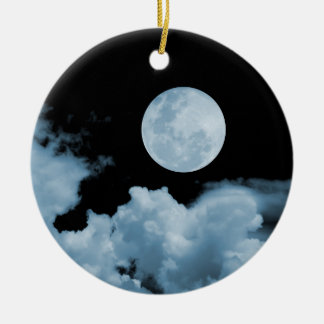 FULL MOON & CLOUDS BLACK & BLUE Double-Sided CERAMIC ROUND CHRISTMAS ORNAMENT