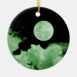 FULL MOON & CLOUDS BLACK & GREEN CHRISTMAS TREE ORNAMENT