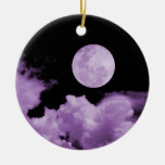 FULL MOON & CLOUDS BLACK & PURPLE CHRISTMAS ORNAMENT