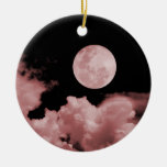 FULL MOON & CLOUDS BLACK & RED CHRISTMAS ORNAMENTS