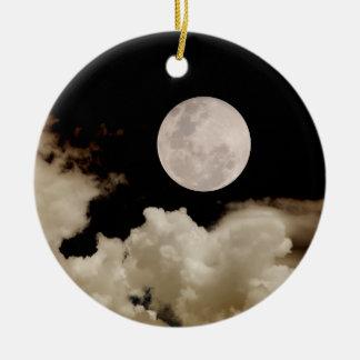 FULL MOON & CLOUDS BLACK & SEPIA CERAMIC ORNAMENT