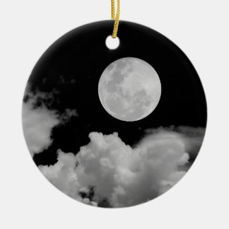 FULL MOON & CLOUDS BLACK & WHITE CHRISTMAS TREE ORNAMENT