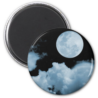 FULL MOON CLOUDS BLUE 2 INCH ROUND MAGNET