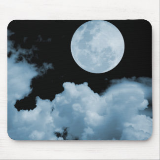 FULL MOON CLOUDS BLUE MOUSE PAD
