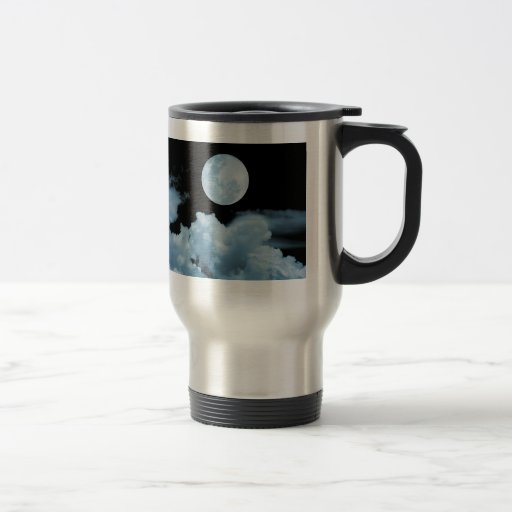FULL MOON CLOUDS BLUE 15 OZ STAINLESS STEEL TRAVEL MUG