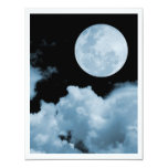 FULL MOON CLOUDS BLUE PERSONALIZED INVITE