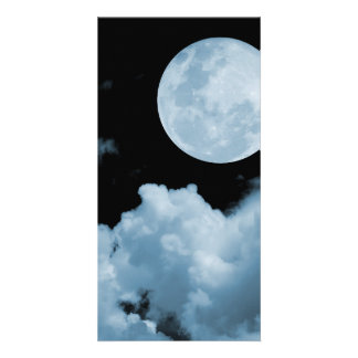 FULL MOON CLOUDS BLUE PICTURE CARD