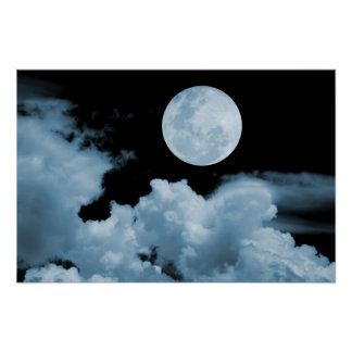 FULL MOON CLOUDS BLUE POSTER