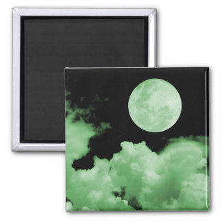 FULL MOON CLOUDS GREEN 2 INCH SQUARE MAGNET