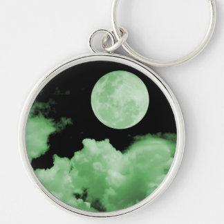 FULL MOON CLOUDS GREEN KEYCHAIN
