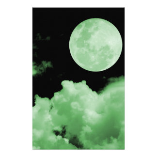 FULL MOON CLOUDS GREEN CUSTOMIZED STATIONERY