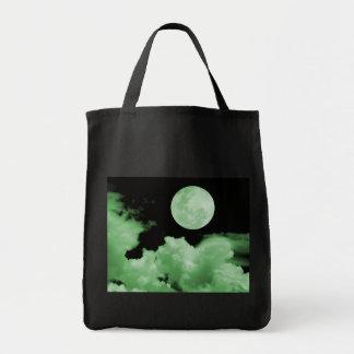 FULL MOON CLOUDS GREEN TOTE BAG