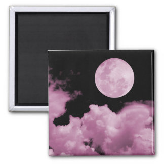 FULL MOON CLOUDS PINK 2 INCH SQUARE MAGNET
