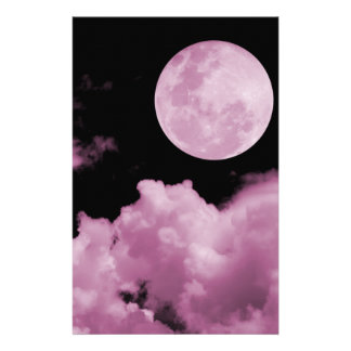 FULL MOON CLOUDS PINK STATIONERY PAPER