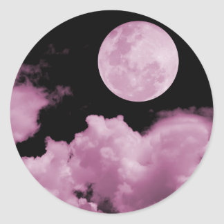 FULL MOON CLOUDS PINK ROUND STICKERS