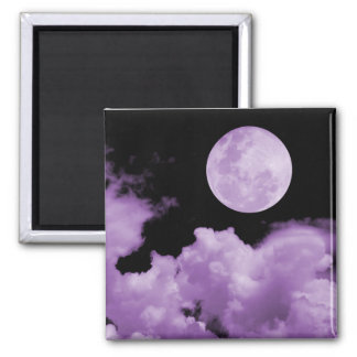 FULL MOON CLOUDS PURPLE 2 INCH SQUARE MAGNET