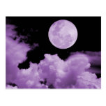 FULL MOON CLOUDS PURPLE POST CARDS