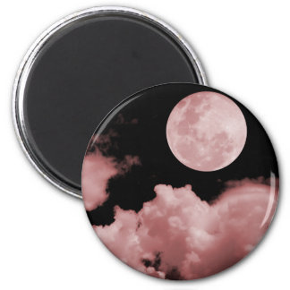 FULL MOON CLOUDS RED 2 INCH ROUND MAGNET