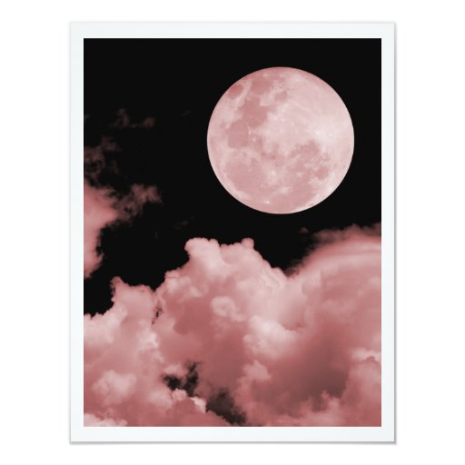 """FULL MOON CLOUDS RED 4.25"""" X 5.5"""" INVITATION CARD"""
