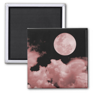 FULL MOON CLOUDS RED FRIDGE MAGNET