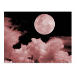 FULL MOON CLOUDS RED POSTCARDS