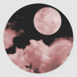 FULL MOON CLOUDS RED ROUND STICKER