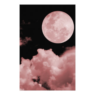 FULL MOON CLOUDS RED STATIONERY PAPER