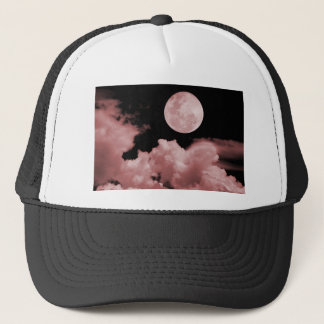 FULL MOON CLOUDS RED TRUCKER HAT
