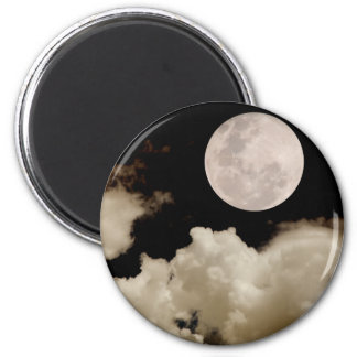 FULL MOON CLOUDS SEPIA 2 INCH ROUND MAGNET