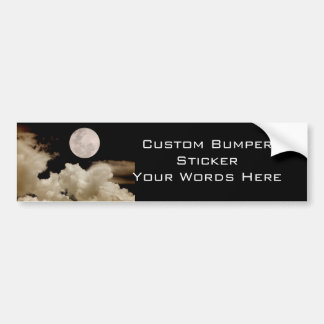FULL MOON CLOUDS SEPIA BUMPER STICKER