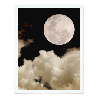 FULL MOON CLOUDS SEPIA PERSONALIZED INVITES