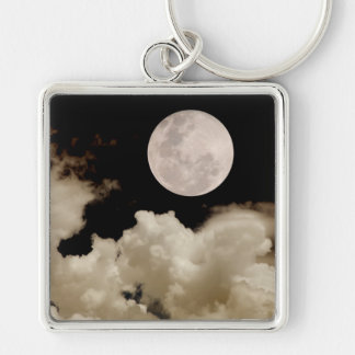FULL MOON CLOUDS SEPIA KEYCHAIN