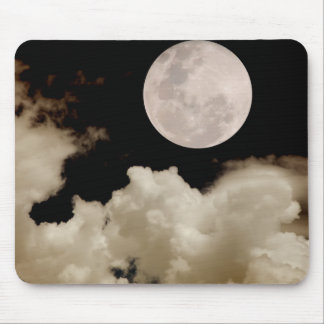 FULL MOON CLOUDS SEPIA MOUSE PAD