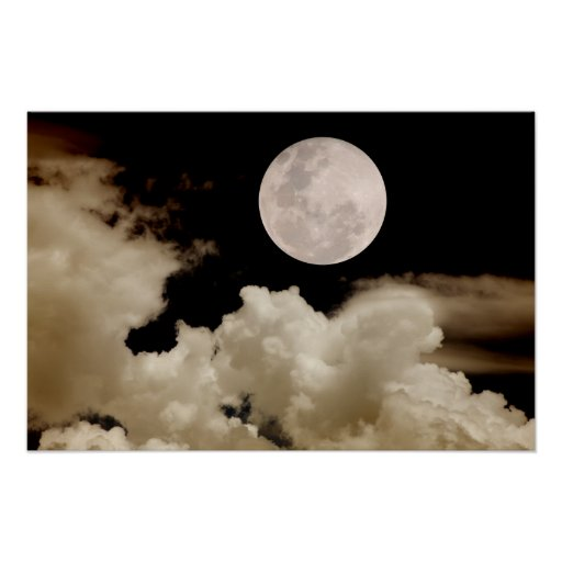 FULL MOON CLOUDS SEPIA ORANGE POSTER