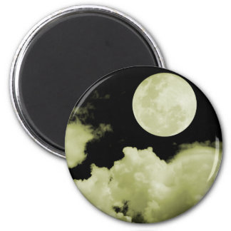 FULL MOON CLOUDS YELLOW 2 INCH ROUND MAGNET