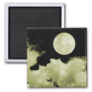 FULL MOON CLOUDS YELLOW 2 INCH SQUARE MAGNET