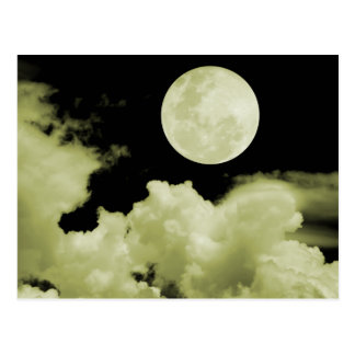 FULL MOON CLOUDS YELLOW POSTCARD