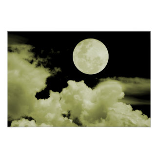FULL MOON CLOUDS YELLOW POSTER