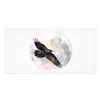 Full Moon Crow Picture Card
