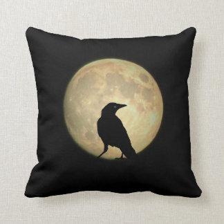 Full Moon Crow Throw Pillow