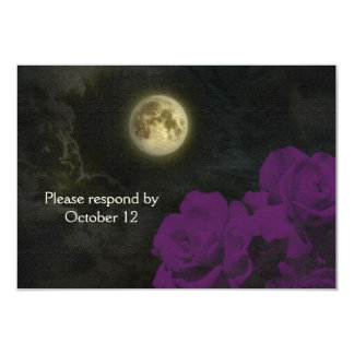 Full Moon Deep Purple Ghost Roses RSVP 3.5x5 Paper Invitation Card